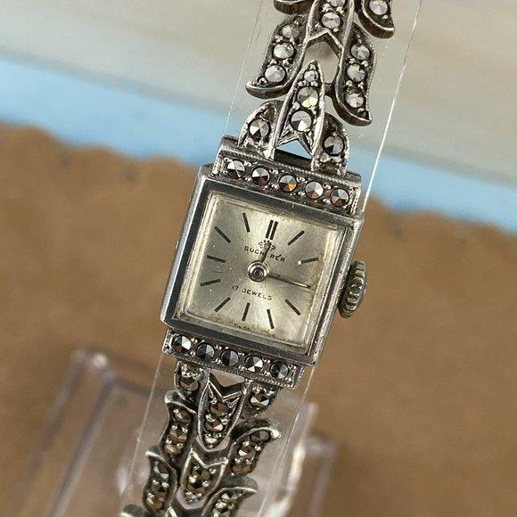 Bucherer Watch Swiss Made in 800 Silver  Marcasite